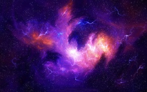 storm, galaxy, stars, universe, digital art, space
