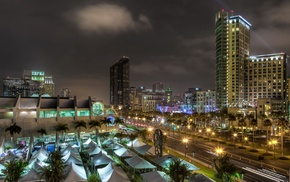 tents, city, San Diego, light trails, palm trees, sculpture