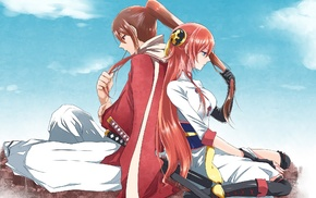 anime girls, Kagura, Gintama, redhead, Okita Sougo, anime