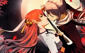 anime girls, anime, redhead, Kagura, Okita Sougo, Gintama