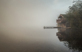 morning, boathouses, reflection, calm, landscape, mist