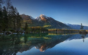 trees, mountain, blue, Germany, reflection, water