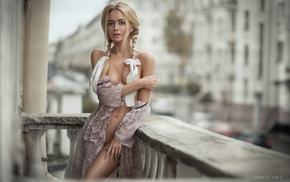model, bottomless, braids, blonde, girl, open clothes