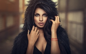 girl, open mouth, hands in hair, dark hair, hoods, brown eyes