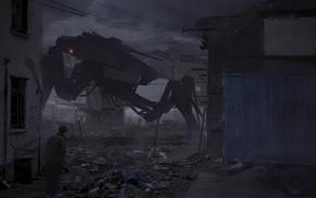ruin, futuristic, apocalyptic, dark, robot, digital art