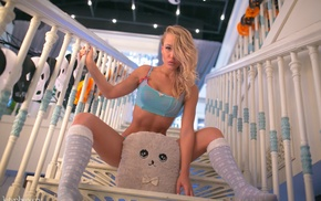 tank top, socks, sitting, girl, blonde, spread legs