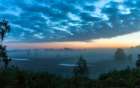 Twilight, sky, mist, nature, Netherlands, panoramas