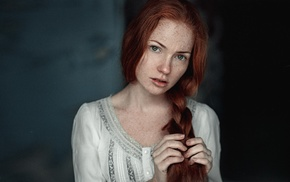 freckles, green eyes, braids, model, open mouth, Georgiy Chernyadyev