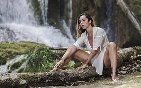 tattoo, dark eyes, barefoot, strategic covering, nature, girl outdoors