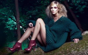 sweater, model, makeup, high heels, blonde, girl outdoors