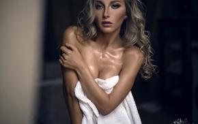 bare shoulders, girl, towel, model, wet body, blonde
