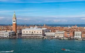 Italy, sea, tower, city, cityscape, architecture