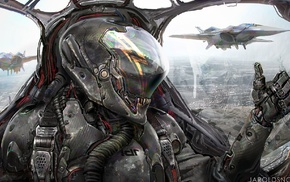 artwork, thumbs up, aircraft, science fiction, concept art