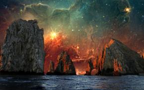 sea, water, photo manipulation, Earth, universe, mountain