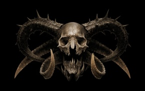 digital art, horns, demon, fangs, skull, death