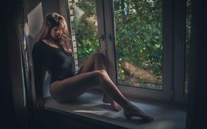 open mouth, leotard, sitting, girl, window