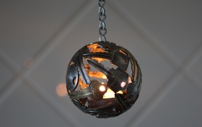 lights, candles, sphere, walls, chains, ball