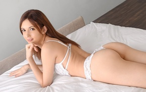 Japanese girl, looking at viewer, Rola Takizawa, lingerie, smiling, in bed