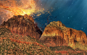 mountain, warm colors, Earth, photo manipulation, nature, universe