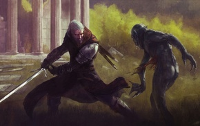 sword, artwork, video games, The Witcher, The Witcher 3 Wild Hunt, fantasy art