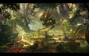 robot, fantasy art, artwork, playground, jungles