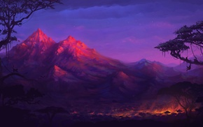fantasy art, colorful, night, trees, fire, monkeys