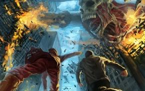Shingeki no Kyojin, destruction, titans, anime