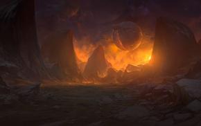 camp fire, fantasy art, mountain, artwork, landscape, planet