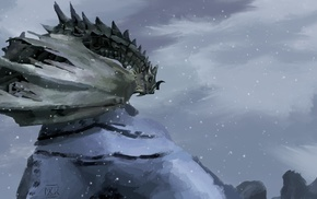 dragon, artwork, snow, fantasy art, winter, The Elder Scrolls