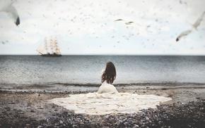 fantasy art, ship, model, girl outdoors