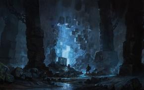 cave, science fiction, blue, fantasy art