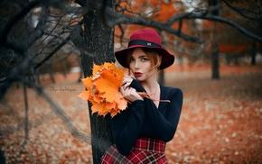 leaves, hat, blue eyes, model, red lipstick, Olga Galitsyna