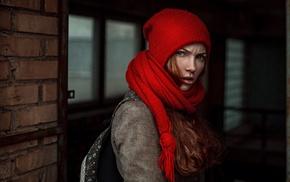 Georgiy Chernyadyev, scarf, woolly hat, redhead, girl