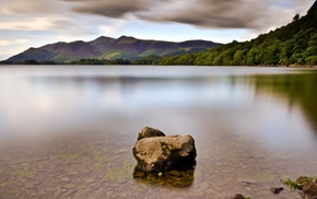 water, trees, mountain, stone, lake, long exposure