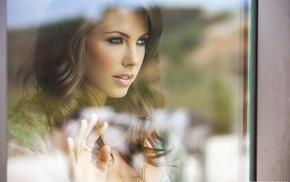 brunette, window, model, Gia Ramey, Gay, wavy hair