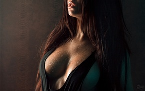 open mouth, cleavage, girl, brunette, juicy lips, no bra