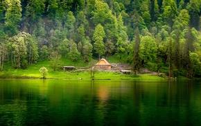 water, cabin, lake, landscape, green, nature