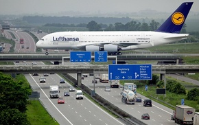 road, Lufthansa, Airbus, passenger aircraft, Germany, car