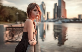 long hair, girl outdoors, bare shoulders, depth of field, riverside, city