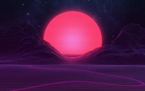 artwork, mountain, Sun, vector art, stars, sky