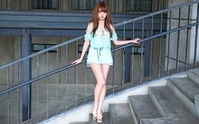 staircase, bangs, brunette, long hair, Asian, model