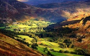 field, trees, landscape, valley, village, sunlight