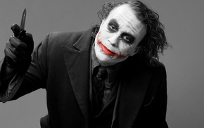 photography, Batman, Joker, DC Comics, black and red, Heath Ledger