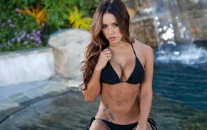swimming pool, pierced navel, girl, tattoo, black bikinis