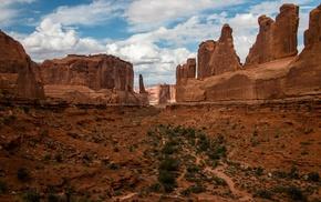 nature, landscape, clouds, canyon, hill