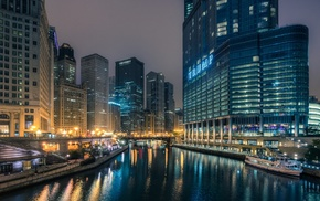 reflection, Chicago, river, night, building, city