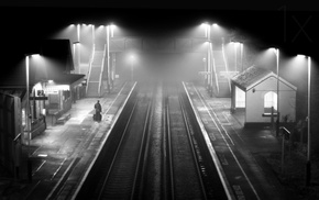monochrome, architecture, lights, railway, alone, mist