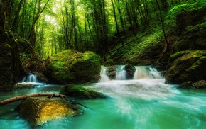 nature, landscape, waterfall, forest, water, sunlight