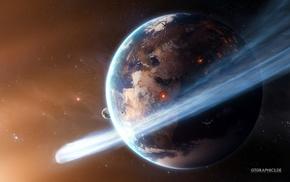 Earth, CGI, space, Taenaron, stars