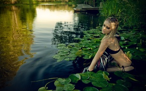 girl outdoors, model, bikini, pond, girl, blonde